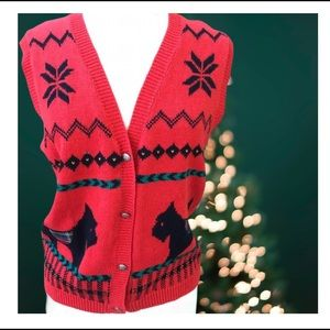 Vintage Alfred Dunner Scotty Dog Christmas Sweater